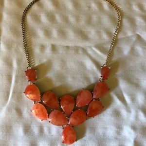 Coral teardrop statement necklace